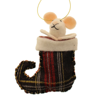 11cm Felt Mouse in Stocking