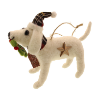 15cm Felt Hanging Dog & Wreath