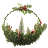 50cm Wreath Ring with Snowy Trees and Berries