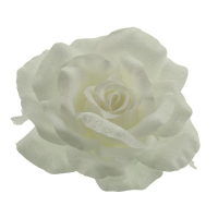 10cm Frosted Rose Head on Clip