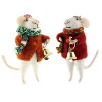 11cm Felt Mouse with Bell Asst