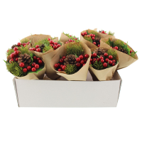 18cm Wrapped Pine Berry Bundle